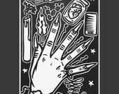 Remedios/Remedies - Witch Hand, Limited Edition of 13, Linocut, Size - 5 x 7 inches, Ready to Ship