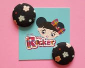 Black Ditsy Floral Button...