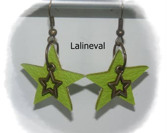 Star anise leather earrings