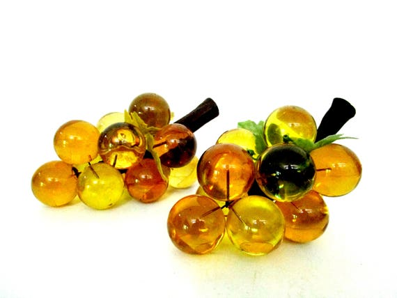Mid Century Lucite Grape Cluster, Set of 2, Acrylic Grapes, Amber, Green, Gold Grapes, Champagne Wine Grape Decor