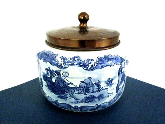 Humidor, Tobacco Jar, Royal Goedewaagen Humidor, Dutch Delft Blue Holland Indian Warrior Highly Collectible, Gift for Men, Pipe Smoker
