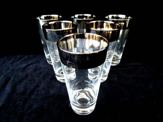Silver Rimmed Barware, Set of 6 Highballs, Shiny Wide Silver Rim, Vintage Barware, Set of 6, Excellent Condition
