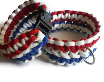 PawAcord Patriotic Non-Adjustable Trio Color Paracord Dog Collar and Owner Bracelet Set in Red, White and Blue