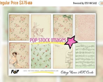 SALE: Digital Collage Sheet ATC Cards - Floral Digital Backgrounds for ATC Aceo - Collage - Altered Art - Journaling Cards - Digital Scrapbo