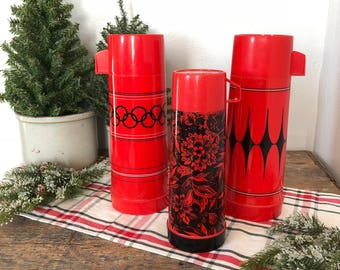 Vintage Red & Black Thermos - SOLD SEPARATELY