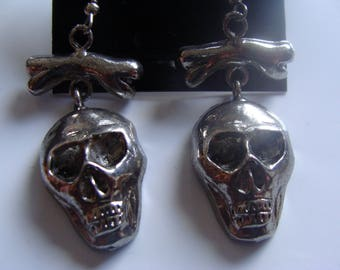 Three (3 Pr.) Pair of #3535 Cryptics tm Brand SKULL & BONES EARRINGS by Polly Products