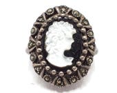 Sterling Silver Cameo Ring Mother Of Pearl Set On Onyx Surrounded by Marcasites Size 8