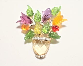 Joseph Cleary Lucite and Rhinestones Vase Of Flowers Brooch