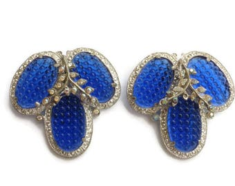 Glowing Textured Cobalt Blue Pebble Glass Pair of Vintage Dress Clips