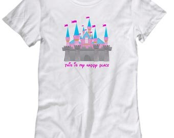 This is My Happy Place Disney Castle Shirt for Women Gift Disneyland Shirts