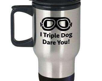 Christmas Story Triple Dog Dare You Funny Gift Travel Mug Coffee Cup Movie Goggles