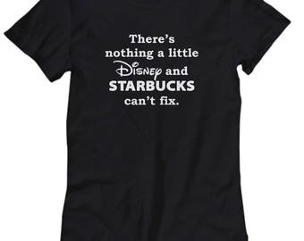 Nothing Disney and Starbucks Can'y Fix Shirts for Women Tinkerbell Magic Disneyland Shirt