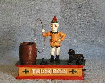 "Cast Iron Mechanical Bank ""Trick Dog"""