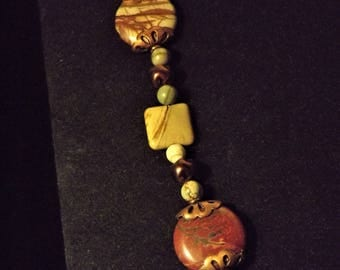 Red creek jasper and copper necklace and earrings set