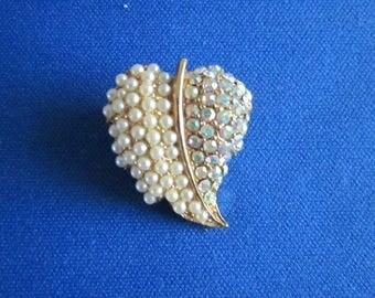 Pearl and Rhinestone Leaf Pin