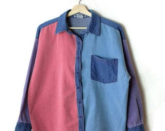 Vintage Color Blocked Cotton Long sleeve Blouse from 80's*