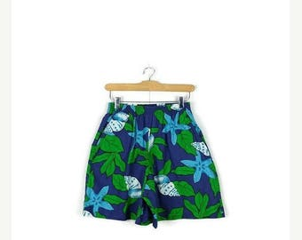 ON SALE Vintage  Blue x Green Floral/Botanical High waist Flare Cotton Shorts from 1980's*