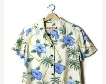 ON SALE Vintage Hawaiian Slouchy Blouse from 90's/Hawaiian Shirt/hibiscus*