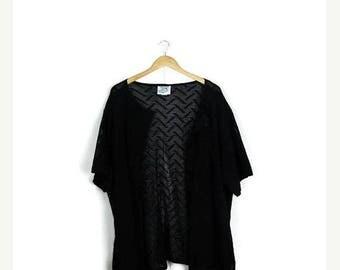 ON SALE Vintage Oversized Black Mesh/Crochet Round neck Cardigan from 1980's*
