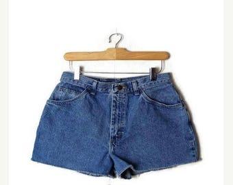 ON SALE Vintage Blue Denim High Waist Denim Shorts from 80's/W28*