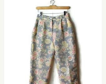 ON SALE Vintage Pale Grey x floral High Wast tapered Pants from 90's*