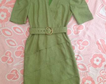Vintage 80s-90s light green cotton dress, secretary, tiers, belted, zip-up. Small/medium
