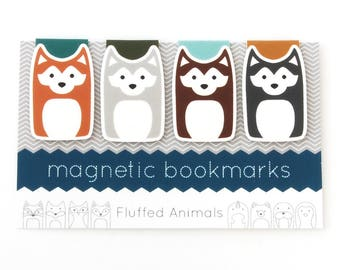 Husky Dog Bookmarks - Magnetic Bookmark Set of 4 - Four Huskies Brown, Ginger, Silver, Gray - Gift for Book Lovers - Gifts for Her - Dog Mom
