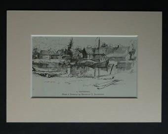 1880s Antique 's-Gravendeel Print, Dutch Gift, Available Framed, Holland Art, Old Netherlands Picture, Hoeksche Waard Island, Dordtsche Kil