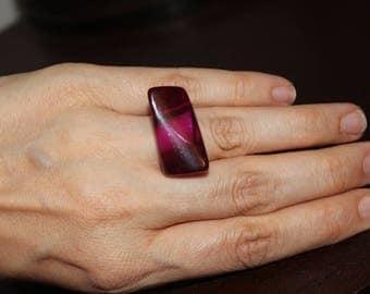 Vintage 80's Purple Lucite Statement Ring