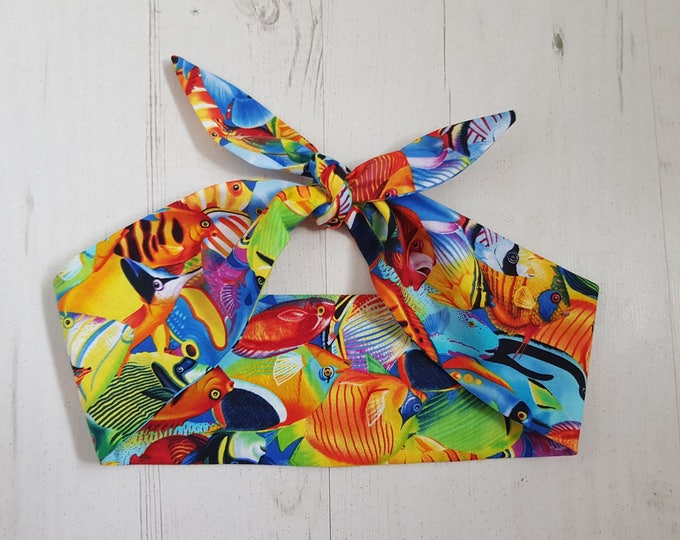 Colourful Tropical Fish Head Scarf - Pin Up Hairband Hair Wrap Retro - With or Without Wire