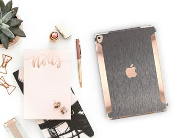 """Brushed Steel with Rose Gold for the iPad Pro 9.7 / iPad Pro 10.5"""" / New iPad 9.7"""" Smart Keyboard compatible Hard Case - Platinum Edition"""
