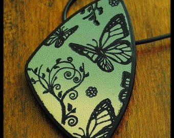 Polymer pendant shades of beige khaki patterned nature butterflies