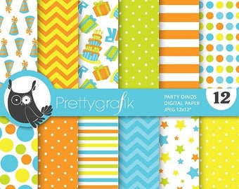 80% OFF SALE Dinosaur birthday digital papers, commercial use, scrapbook papers, background - PS690