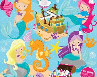 80% OFF SALE mermaid clipart commercial use, vector graphics, digital clip art, digital images - CL741