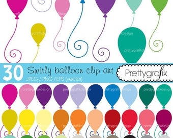 80% OFF SALE 30 balloons clipart commercial use, vector graphics, digital clip art, digital images - CL465