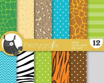 80% OFF SALE Safari digital papers, commercial use, scrapbook papers, background, animal print  - PS757