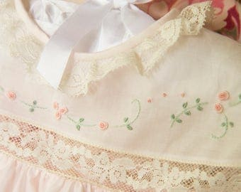 Heirloom Dress with Pastel Embroidery and Pin Tucks