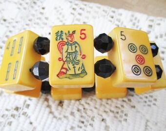 Vintage Mahjong - Majong Bakelite Bracelet - black faceted  beads - estate find!