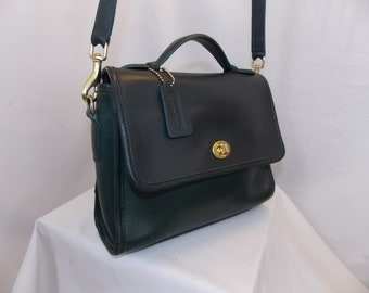 COACH 'Court' Bag ~ #0781-301 (9870) ~ Brass ~ Forest Green ~ USA ~ Excellent Vintage Condition
