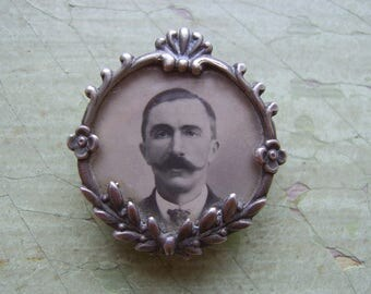 Antique French Photo Brooch/Pin - 'Art Nouveau' - Sweetheart - Handlebar Moustache - Silver.