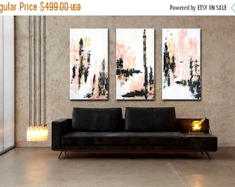 """ON SALE 72x48"""" Set of 3 Original Abstract Acrylic Painting Pink Gold White Black Extra Large Triptych modern art decor Wall Art Wall Hanging"""