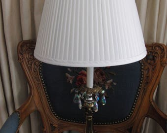 Metal lamp with white shade