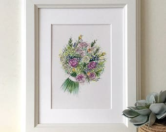 Personalised Wedding Bouquet Hand Drawn Illustration - Wedding Bouquet Sketch - Unique Wedding Gift - Hand Drawn - Original Artwork