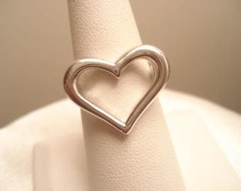 Vintage Sterling Large Cut Out Heart Statement Ring 7""