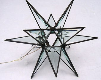 Med. Stained Glass Tree Topper, Beveled Clear Glass, Moravian Star, Tree Top Decoration, Christmas Star Ornament, 12 Point Star X'mas Tree