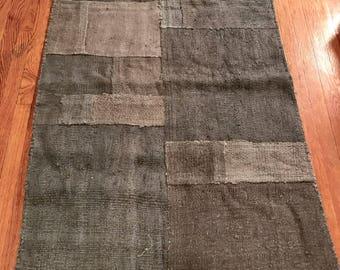 Vintage rug patchwork hemp