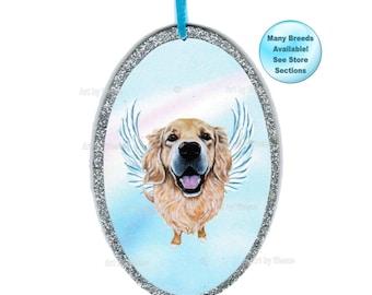 Golden Retriever Angel, Golden Retriever Ornament, Golden Retriever Art, Dog angel, Pet Memorial, Dogs With Wings, Pet Loss Gift