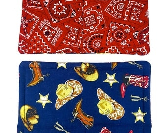 Cowboy Hats, Boots, Badges, Pot Holder Set of 2 - Red Bandana Reserve