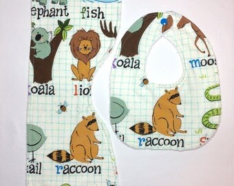 Baby Bib & Burp Cloth Set - Raccoons