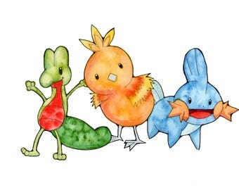 Generation 3 Starters Watercolor Prints